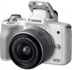 Canon EOS M50 -mikrojärjestelmäkamera, valkoinen + 15-45 mm -objektiivi