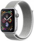 Apple Watch Series 4 (GPS) hopeanvärinen alumiinikuori 44 mm, simpukanvärinen Sport Loop -ranneke, MU6C2
