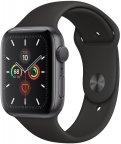 Apple Watch Series 5 (GPS) tähtiharmaa alumiinikuori 44 mm, musta urheiluranneke, MWVF2