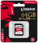 Kingston 64 Gt SD Canvas React UHS-I Speed Class 3 (U3) -muistikortti