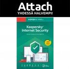 Kaspersky Internet Security - 3 laitetta - 12 kk - Attach - tietoturvaohjelmisto, aktivointikortti