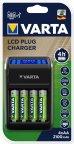 Varta LCD Plug Charger -latauslaite ja 4 kpl AA (LR6) 2100 mAh akkuparistoja