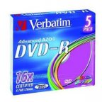 Verbatim DVD-R 16X media 4.7GB, Colour, 5 kpl paketti slim muovikoteloissa (SlimCase).