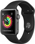 Apple Watch Series 3 (GPS) tähtiharmaa 42 mm, musta urheiluranneke, MQL12