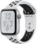 Apple Watch Nike+ Series 4 (GPS) hopeanvärinen alumiinikuori 44 mm, Pure Platinum/Musta Nike Sport -ranneke, MU6K2