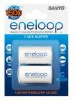 Panasonic Eneloop AA -> C -adapteri, 2 kpl