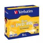 Verbatim DVD+RW 4X, 1.46GB, 8cm, 5 kpl muovikotelossa. AZO-pinnoitettu