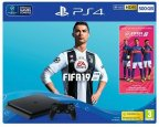 Sony PlayStation 4 Slim 500 Gt + FIFA 19 -pelikonsolipaketti, musta