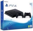 Sony PlayStation 4 Slim 500 Gt + toinen DualShock 4 -pelikonsolipaketti, musta