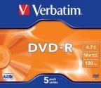 Verbatim DVD-R 16X media 4.7GB, 5 kpl paketti muovikoteloissa. Advanced Azo tallennuspinta. Tallennus 16X nopeudella