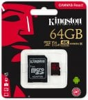 Kingston 64 Gt microSD Canvas React UHS-I Speed Class 3 (U3) -muistikortti