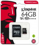 Kingston 64 Gt microSD Canvas Select UHS-I Speed Class 1 (U1) -muistikortti