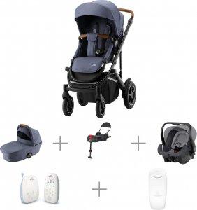 Vauvaperheen starttipaketti: BRITAX SMILE III -yhdistelmävaunut Indigo Blue, Primo-turvakaukalo ja -jalusta, + muut tarvikkeet