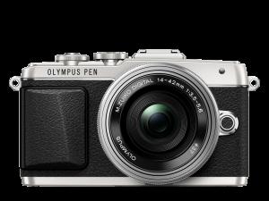Olympus PEN E-PL7 hopea + 14-42 mm EZ objektiivi