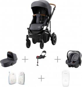 Vauvaperheen starttipaketti: BRITAX SMILE III -yhdistelmävaunut Midnight Grey, Primo-turvakaukalo ja -jalusta, + muut tarvikkeet