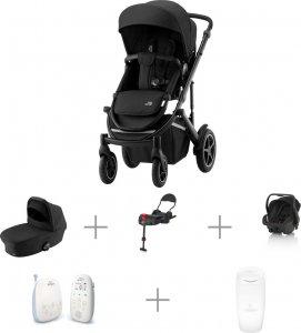 Vauvaperheen starttipaketti: BRITAX SMILE III -yhdistelmävaunut Space Black, Primo-turvakaukalo ja -jalusta, + muut tarvikkeet