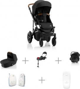 Vauvaperheen starttipaketti: BRITAX SMILE III -yhdistelmävaunut Space Black Cognac, Primo-turvakaukalo ja -jalusta, + muut tarvikkeet