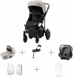 Vauvaperheen starttipaketti: BRITAX SMILE III -yhdistelmävaunut Pure Beige, Primo-turvakaukalo ja -jalusta, + muut tarvikkeet