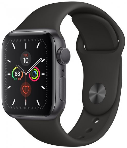 Apple Watch Series 5 (GPS) tähtiharmaa alumiinikuori 40 mm, musta urheiluranneke, MWV82