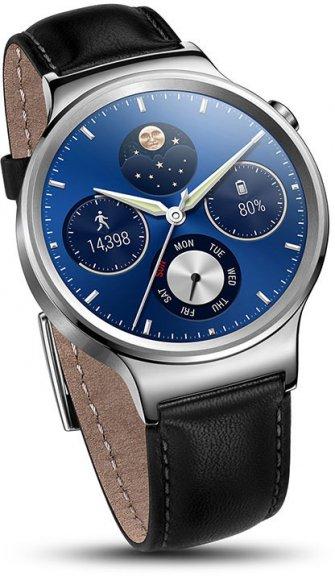 Huawei Watch -älykello, hopea nahkarannekkeella