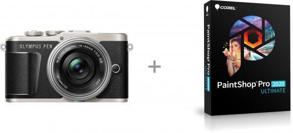 Olympus PEN E-PL9 -mikrojärjestelmäkamera, musta + pannukakkuobjektiivi + Corel PaintShop Pro 2020 Ultimate -kuvankäsittelyohjelmisto, kuva 2