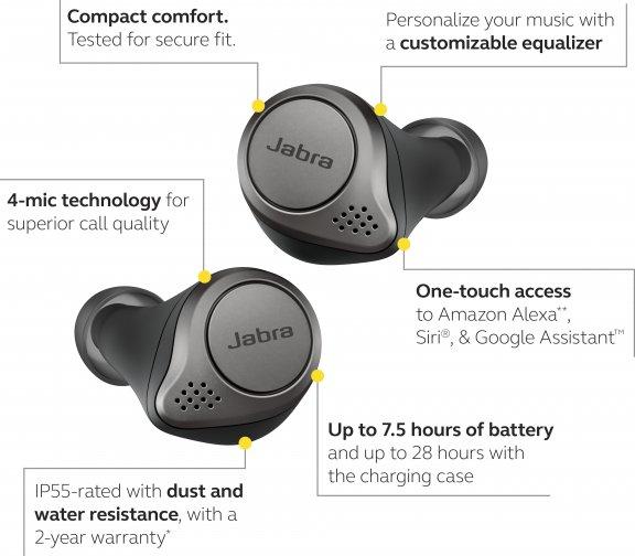 Jabra Elite 75t -Bluetooth-kuulokkeet, musta, kuva 7