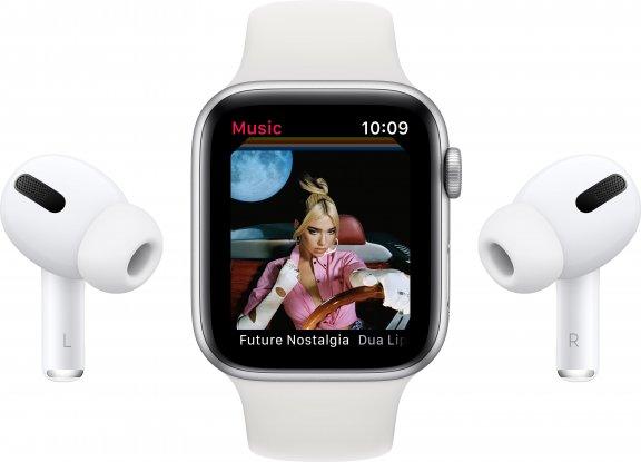 Apple Watch SE (GPS) 44 mm tähtiharmaa alumiinikuori, musta urheiluranneke, MYDT2, kuva 9