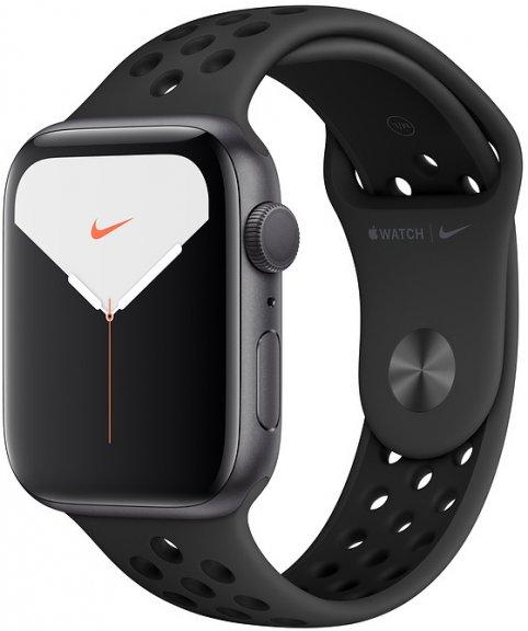 Apple Watch Nike Series 5 (GPS) tähtiharmaa alumiinikuori 44 mm, Antrasiitti/musta Nike Sport -ranneke, MX3W2
