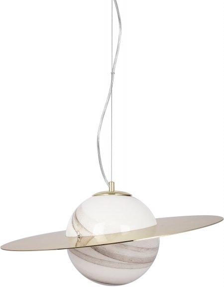 Globen Lighting Andromeda 45 -riippuvalaisin, valkoinen lasi/messinki, G9