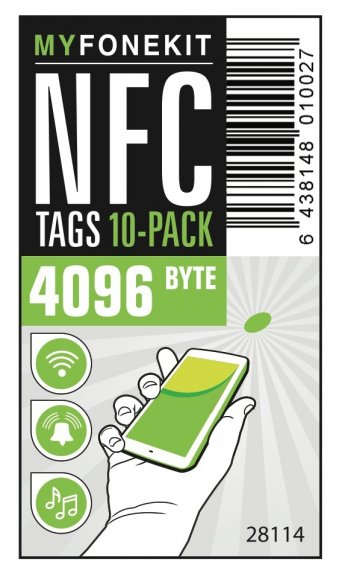 MyFoneKit NFC-tags 4096 tavun tarrat 10 kpl, valkoinen