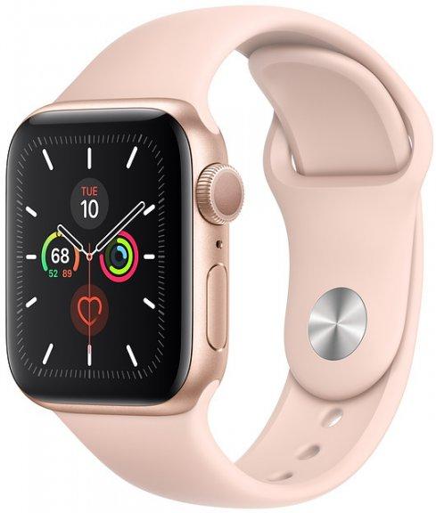 Apple Watch Series 5 (GPS) kullanvärinen alumiinikuori 40 mm, hietaroosa urheiluranneke, MWV72