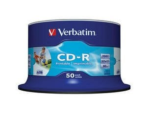Verbatim Datalife Plus CD-R 48X/52X Printable Id-Brand Fast Dry Surface 50 kpl spindle, ei yksittäispaketointia 700MB/80min