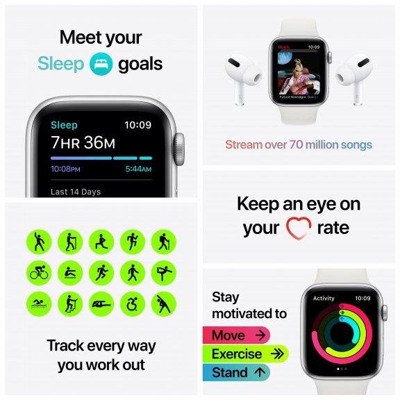 Apple Watch SE (GPS) 44 mm tähtiharmaa alumiinikuori, musta urheiluranneke, MYDT2, kuva 7