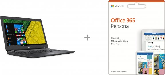 "Acer Aspire ES1-732 17,3"" -kannettava, Win 10 + Microsoft Office 365 Personal - 12 kk"