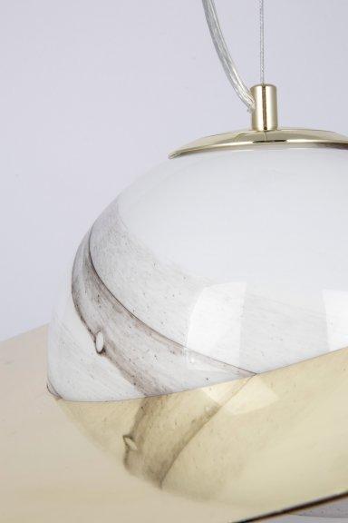 Globen Lighting Andromeda 45 -riippuvalaisin, valkoinen lasi/messinki, G9, kuva 2