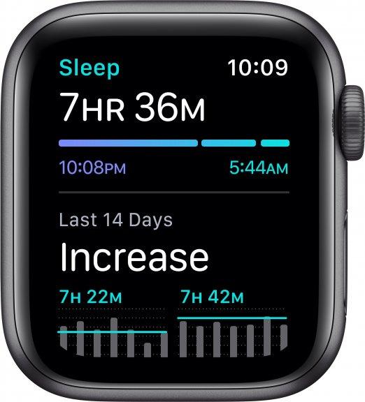 Apple Watch Nike SE (GPS) 40 mm tähtiharmaa alumiinikuori ja antrasiitti/musta Nike Sport ‑ranneke, MYYF2, kuva 5