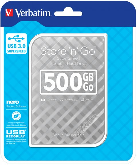Verbatim Store 'n' Go 500 Gt -ulkoinen kovalevy, hopea, kuva 2
