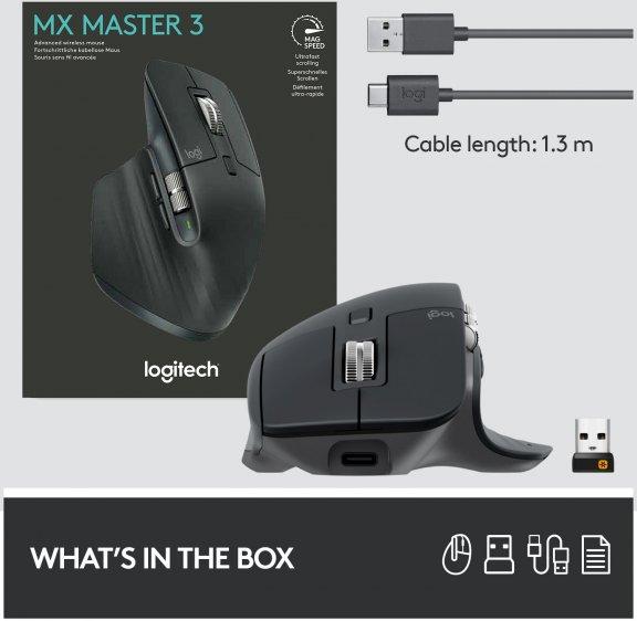 Logitech MX Master 3 -hiiri, musta, kuva 12