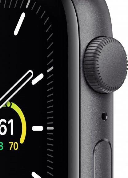 Apple Watch SE (GPS) 44 mm tähtiharmaa alumiinikuori, musta urheiluranneke, MYDT2, kuva 2