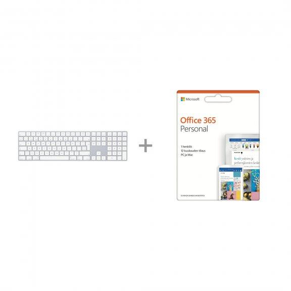 Apple Magic Keyboard numeronäppäimistöllä FIN/SWE langaton näppäimistö, MQ052 + Office 365 Personal (12 kk lisenssi)