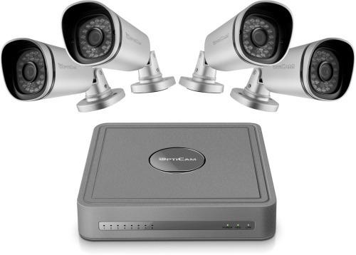Opticam Pro PoE NVR v2 -verkkovideotallennin ja neljä kameraa