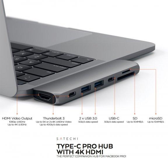 Satechi USB Type-C Pro Hub -adapteri, Space Gray, kuva 3