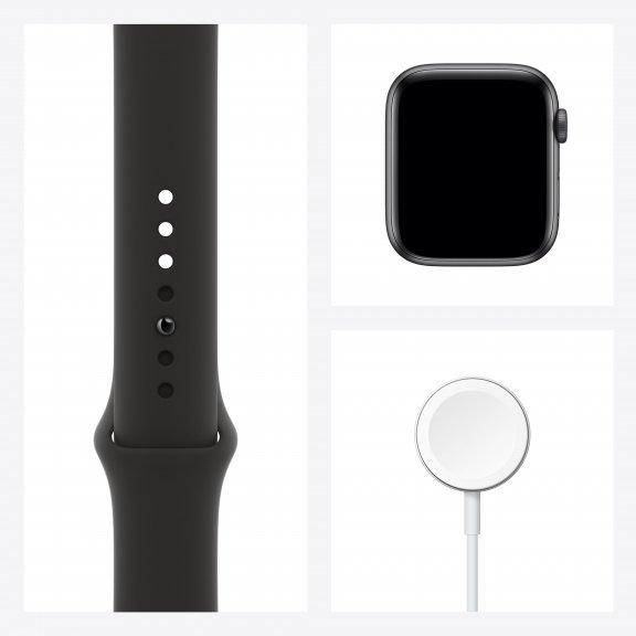 Apple Watch SE (GPS) 44 mm tähtiharmaa alumiinikuori, musta urheiluranneke, MYDT2, kuva 8