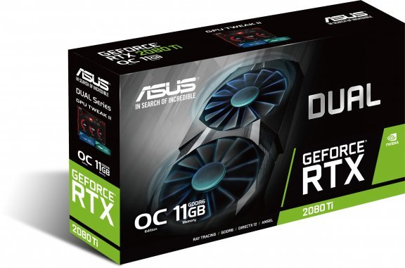 Asus DUAL-RTX2080TI-O11G GeForce RTX 2080 Ti 11264 Mt -näytönohjain PCI-e-väylään, kuva 2
