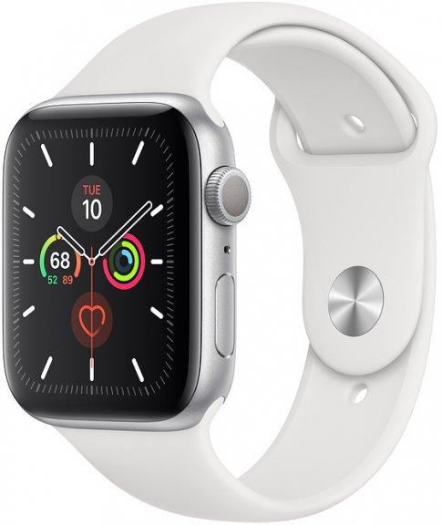 Apple Watch Series 5 (GPS) hopeanvärinen alumiinikuori 44 mm, valkoinen urheiluranneke, MWVD2