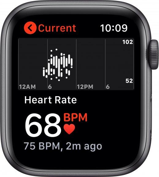 Apple Watch SE (GPS) 44 mm tähtiharmaa alumiinikuori, musta urheiluranneke, MYDT2, kuva 4