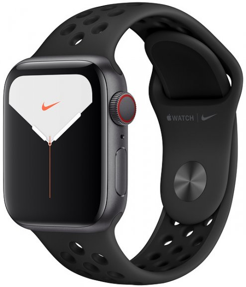 Apple Watch Nike Series 5 (GPS + Cellular) tähtiharmaa alumiinikuori 40 mm, Antrasiitti/musta Nike Sport -ranneke, MX3D2