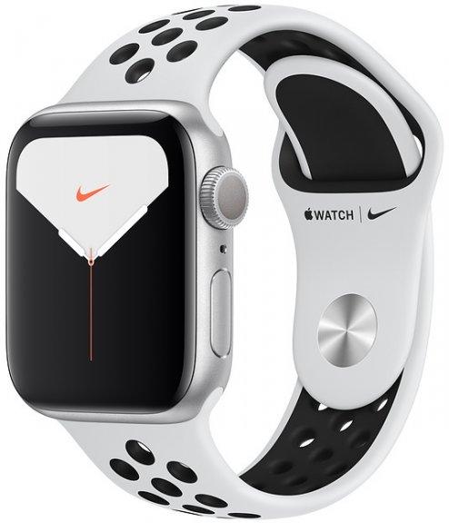Apple Watch Nike Series 5 (GPS) hopeanvärinen alumiinikuori 40 mm, Pure Platinum/musta Nike Sport -ranneke, MX3R2