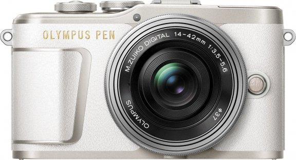 Olympus PEN E-PL9 -mikrojärjestelmäkamera, valkoinen + pannukakkuobjektiivi