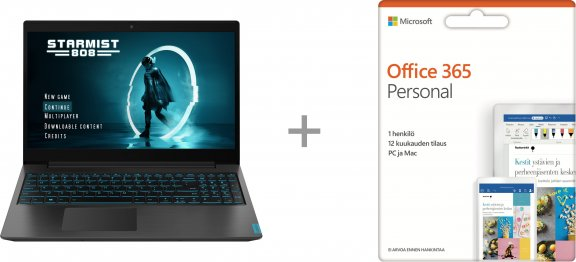 "Lenovo Ideapad L340 Gaming 15,6"" -pelikannettava, Win 10 64-bit, musta + Microsoft Office 365 Personal - 12 kk"